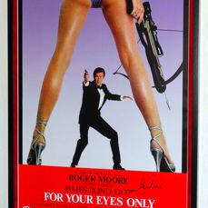 For Your Eyes Only - Roger Moore (RIP) originally hand signed FULL size movie poster - Premium framed + Certificate of Authenticity PSA