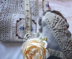 Antique crochet and cross-stitch long doily with heart as a gift
