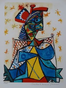 Pablo Picasso (after) - Seated Woman with Red and Blue Hat