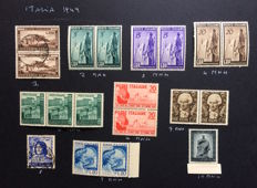 Italian Republic 1949/1954 - selection of values in series and loose stamps from the period