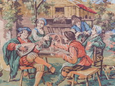 Beautiful vintage pictorial tapestry , second half of the 20th century, France 75 cm x 176 cm,