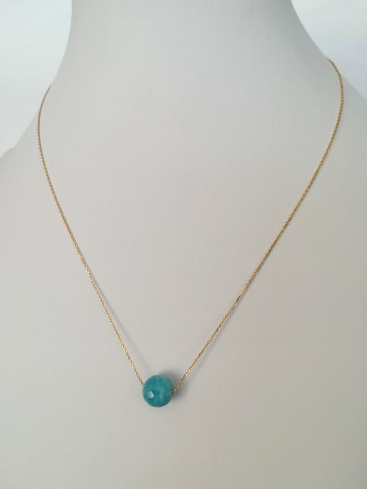 19.2 kt – Gold necklace with aquamarine gemstone
