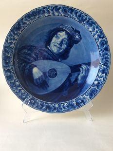 Porceleyne Fles - Decorative large plate painted after Frans Hals.