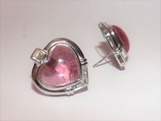 Kesia: 18 kt white gold earrings with tourmaline and 0.25 ct diamonds.