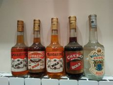 5 bottles Bols - Vodka, Cherry Brandy, Amaretto, Mandarine & Dry Orange Curaçao - bottled 1980s