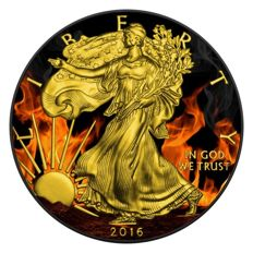 United States – Dollar 2016 'American Burning Silver Eagle' black ruthenium + gilded in colour – 1 oz silver