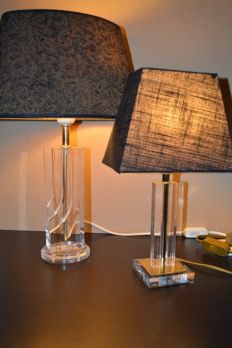 2 Lucite Plexi and brass Table lamps - 1980's
