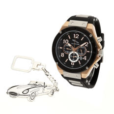 S&S men's watch for Jaguar + Sterling silver key ring with a reproduction of the E-Type model