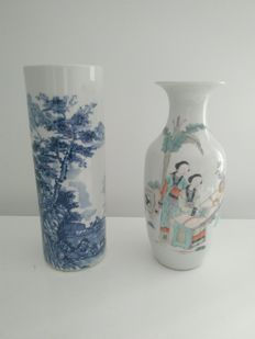 Two porcelain vases - China - 20th century