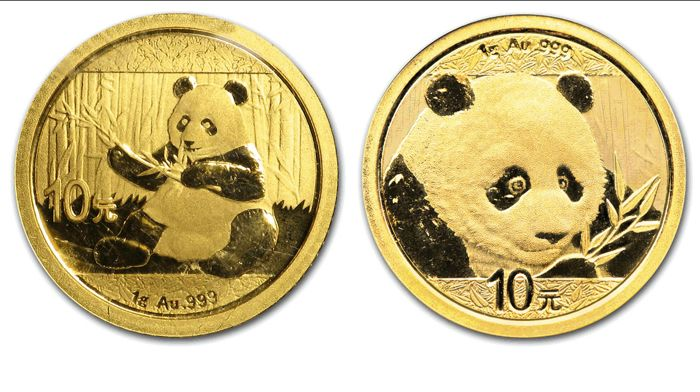 China - 10 Yuan 2017 & 2018 Panda (2 coins) - Goud