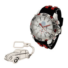 S&S men's watch for Volkswagen + Sterling silver key ring with a reproduction of the Volkswagen Beetle