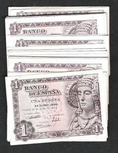 Spain - Lot of 156 Banknotes - 35 x 1 Peseta 1948 - 50 x 1 Peseta 1951 - 72 x 1 Peseta 1953
