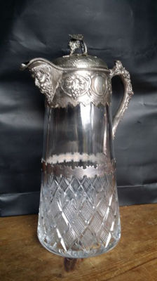 Wine carafe made of crystal with silver plated armature