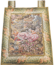 Beautiful vintage pictorial tapestry , second half of the 20th century, china 89 cm x 75 cm,