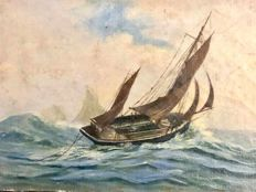 French School 19th - 20th Century  -  Fishing sailboat in a storm  - oil on canvas