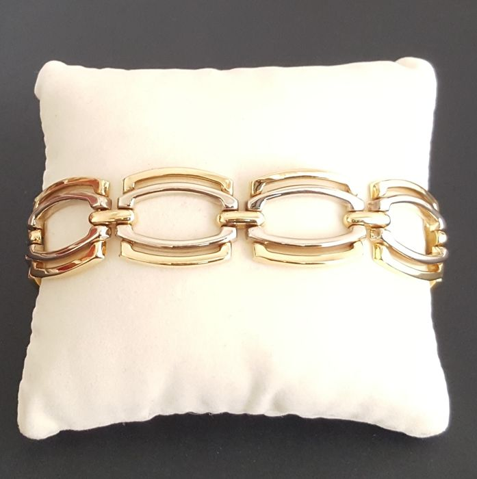 Two-tone gold bracelet (18 kt yellow and white gold) with rectangular links - Length: 19.5 cm