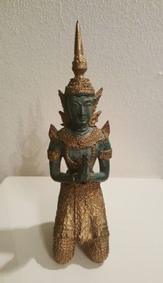 A gold-plated temple guard made of bronze - Thailand - second half of the 20th century