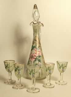 Unique hand-painted, six-piece liquor set of satin glass with decoration of flowers and gold accents