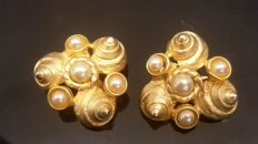 Christian Dior - RARE Couture Pearl 18kt gold plated Earrings - Vintage