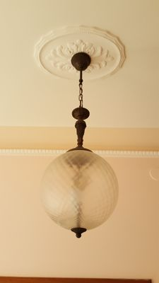 Brass chandelier with glass bowl in Luigi Caccia Dominioni style - 1950s/60s