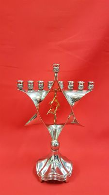 Silver-plated menorah with gold-plated movable star - the Netherlands - 20th century