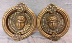 Pair of bronze Roman door knockers, lost wax casting - Rome, Italy - Late 1800s/Early 1900s - depicting two faces of Roman emperors and flowers