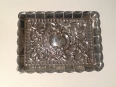 A silver tray, of rectangular form, tooled with C-scroll and rocaille - Spain - mid 20th century