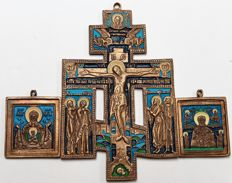Russian Orthodox travel ikons- bronze castings - lot  consists of  a The  Crucifixion in Enamel - end and 2 small icons~19/20 th century