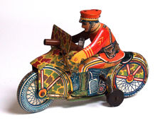 Marx, USA - Length 22 cm - Tin motorcycle rider with clockwork motor, 1950s