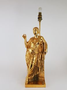 Woman standing - Large bronze lamp base cast by Susse Freres - with later gilding - France - 19th century