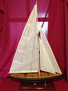 Large handmade sailboat, all in wood and bronze, 90 x 60