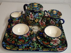 Emaux de Longwy - Complete 8-piece tea set with a decor of flowers on a black background
