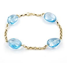 18 kt (.750) yellow gold - Bracelet - Blue Topaz - Chain length: 19.5 cm