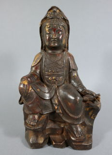 Bronze Guanyin on throne - China - late 20th/21st century