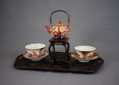 Porcelain teapot/cups/saucers - marked - Japan - Early 20th century