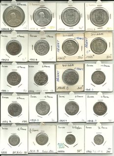 Switzerland - Lot of 20 coins, from 1/2 franc to 5 francs, some unusual years - Silver.
