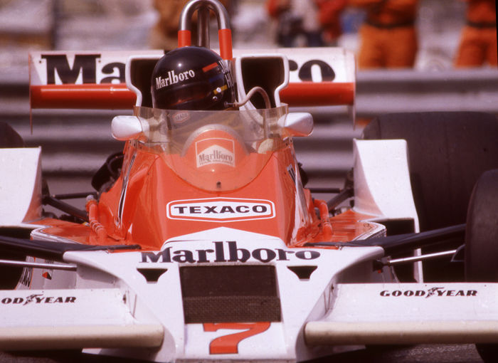 James Hunt McLaren colour  Photograph. 55cm x 44cm
