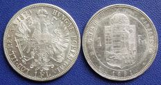Austria-Hungary - 1 florin 1879 and 1 forint 1881 KB - silver
