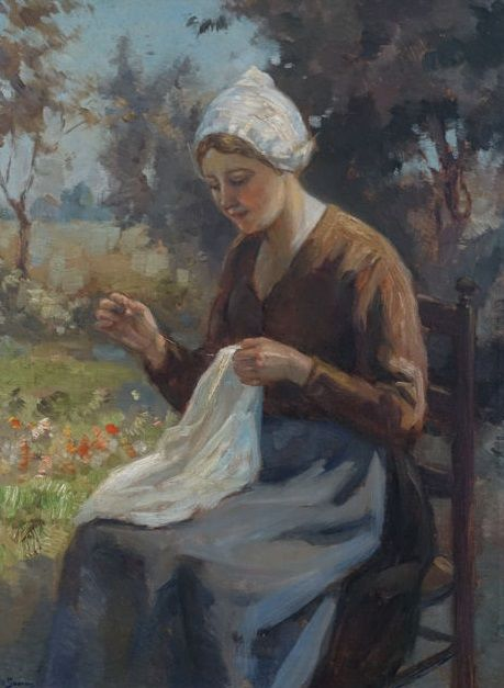 "Louis Soonius (The Hague 1883-1956) - ""Handwerkende jonge vrouw in landschap"""