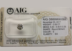 Diamond of 0.59 carats colour E/SI 'untreated diamond, very low reserve price'