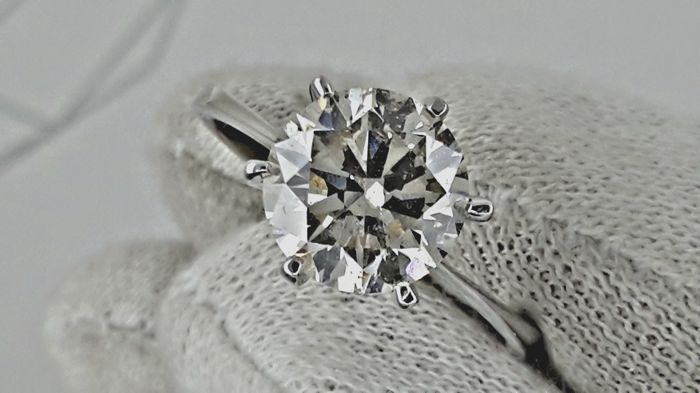 IGL 2.27 ct  SI1  round enhanced diamond ring made of 14 kt white gold - size 7