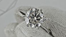2.27 ct  SI1  round diamond ring made of 14 kt white gold - size 7