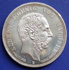 German Empire, Saxony - 5 Marks 1902 E on the death - silver