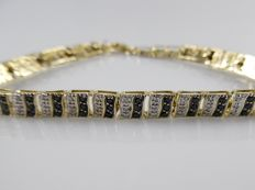 18 kt gold bracelet with black brilliants of 1.08 ct and octagon-cut diamonds of 0.54 ct - length: 19 cm