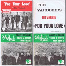 The Yardbirds: 2 rare original 45's with picture sleeve. For Your Love & Shape Of Things (Riviera Records) made in Holland / France