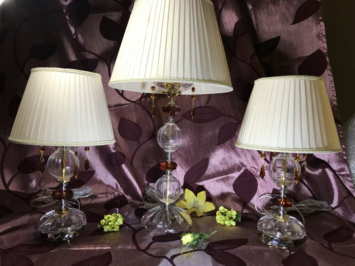 Three table lamps in crystal glass, with rhinestones and pleated lampshades - Italy