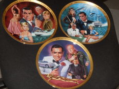 Collection of Three 22k Goldplated Franklin Mint collector plates of James Bond - Thunderball, Goldfinger and From Russia With Love