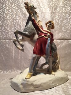 Royal Dux porcelain figure, Girl with horse