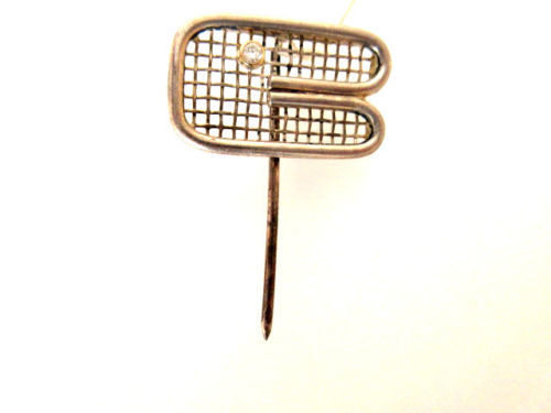 Ties pin with tennis racket + diamond approx. 0.007 ct