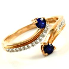 14kt Rose Gold 0.30 ct Synthetic Blue Sapphire and 0.12 ct  White Sapphire Ring,  Size: 7
